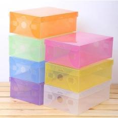 LANJAR JAYA 5Pcs - Kotak Sepatu Transparan Multicolour - Anti Dust / Anti Jamur