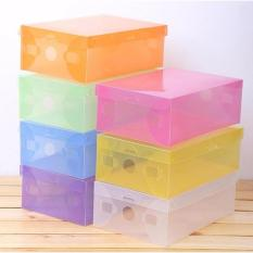 lanjar jaya Kotak Sepatu Transparan Warna-Warni - Multicolour Transparent Shoe Box - 10 Pcs