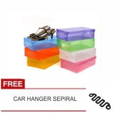 LANJAR JAYA Transparant Shoes Box - Kotak Sepatu Transparan Warna Warni - Random +CAR HANGER SPIRAL