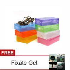 LANJAR JAYA Transparant Shoes Box - Kotak Sepatu Transparan Warna Warni - Random +Fixate Gel