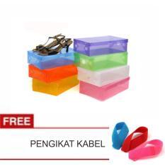 LANJAR JAYA Transparant Shoes Box - Kotak Sepatu Transparan Warna Warni - Random +PENGIKAT KABEL