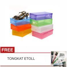LANJAR JAYA Transparant Shoes Box - Kotak Sepatu Transparan Warna Warni - Random +Tongkat Kartu E Toll