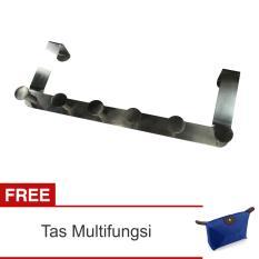 Lanjarjaya Gantungan Pintu Stainless Steel Untuk Baju, Celana, Handuk, DLL Tanpa Paku + Tas Multifungsi