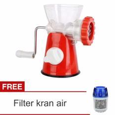 Lanjarjaya Meat Mincer Grinder Alat Penggiling Daging Manual + Filter Kran Air(Red)