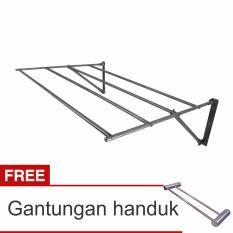 Lanjarjaya Stainless Steel Jemuran Dinding Ukuran 82cm Knock Down + Gantungan Handuk