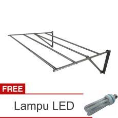Lanjarjaya Stainless Steel Jemuran Dinding Ukuran 82cm Knock Down + Lampu LED