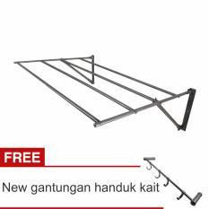 Lanjarjaya Stainless Steel Jemuran Dinding Ukuran 82cm Knock Down + New Gantungan Handuk Kait