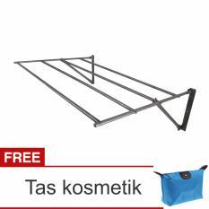 Lanjarjaya Stainless Steel Jemuran Dinding Ukuran 82cm Knock Down + Tas Kosmetik