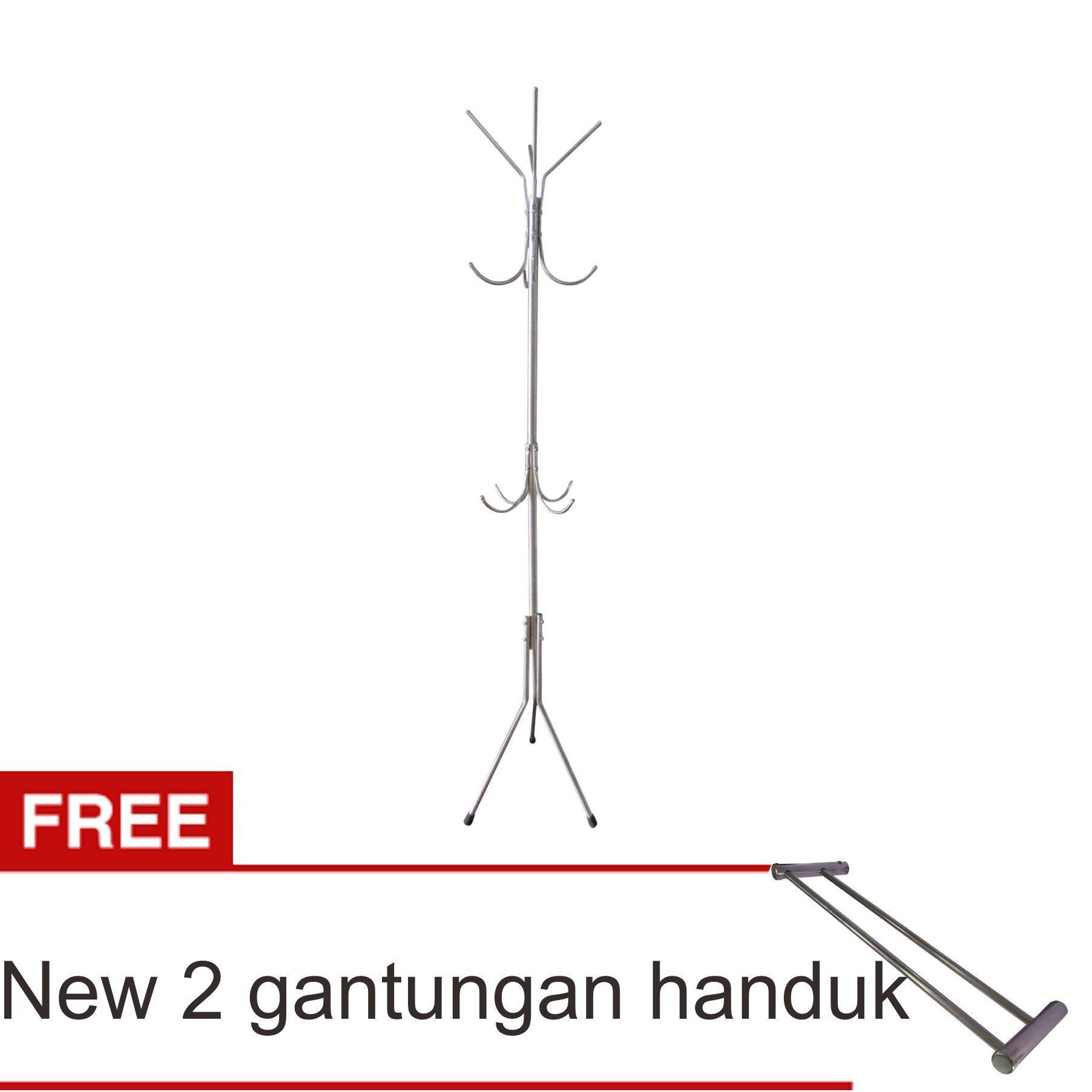Harga preferensial Lanjarjaya Stainless Steel Standing Hanger Multifungsi / Gantungan Tas Baju Serbaguna + New 2 Gantungan Handuk terbaik murah - Hanya ...