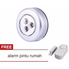 Lanjarjaya Stick Touch Lamp Stick n Click Emergency Lampu Tempel Darurat 3 LED +alarm pintu rumah