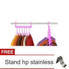 Lanjarjaya Wonder Hanger Gantungan Baju - Random + Stand Hp Stainless