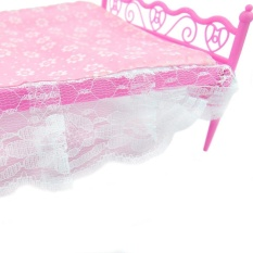Lanyu E-TING Pink Mini Bed With Pillow for Barbie Dolls Dollhouse Bedroom Furniture 1 - intl