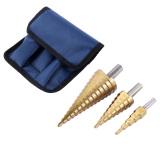 Spesifikasi Kerucut Besar Hss Titanium Dilapisi Langkah Lubang Cutting Bor Bit Set Dari 3 Dan Harga