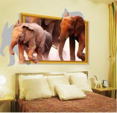 Terbaru Menakjubkan 3D Elephants Wall Stiker Dekorasi Rumah untuk Kamar Anak Ruang Tamu Dekorasi Sofa Latar Belakang Decal Sticker Di Dinding -Intl