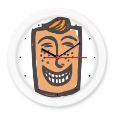 Laugh Abstract Face Sketch Emoticons Online Chat Silent Non-ticking Round Wall Decorative Clock Battery-operated Clocks Gift Home Decal - intl