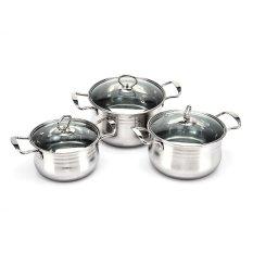 Spesifikasi Lazada Stainless Steel Cookware Set Gn Cg1 Silver 3 Buah Merk Lazada