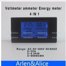 Situs Review Lcd 4In1 Display Voltage Current Active Power Energy Meter Blue Backlight Panel Voltmeter Ammeter Kwh 20A 80 260V 50 60Hz Intl