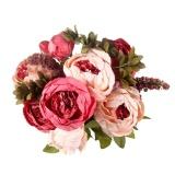 Harga Leegoal 13 Pcs Berkualitas Tinggi Bunga Sutra Eropa 1 Bouquet Buatan Fall Vivid Peony Palsu Daun Pernikahan Rumah Pesta Dekorasi Intl Asli Leegoal