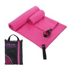 Leegoal 2 Pcs/set Cepat Kering Penyerap Serat Mikro Handuk + Handuk Kecil untuk Olahraga Gym Perjalanan Berenang Camping Beach- INTL