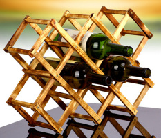 Diskon Leegoal Kreatif Dilipat 10 Botol Anggur Kayu Rak Penyelenggara Pameran Warna Berkarbon