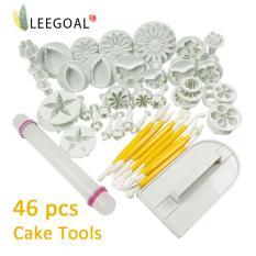 Leegoal Fondant Sugarcraft Alat Penghias Kue Berbentuk Bunga Plastik Satu Set Alat Cetakan Kue dan Pemotong