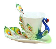 Promo Leegoal Cina Kerajinan Tangan Dari Enamel Porcelain Teh Mug Cangkir Kopi Ditetapkan With Sendok And Piring Hijau 200 Ml International Di Tiongkok