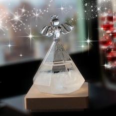 Leegoal Pawaca Storm Kaca, Kreatif Bergaya Angel Diamond Bentuk Cuaca Prakiraan Barometer Crystal Glass dengan Original Kayu Dasar Rumah Kantor Dekorasi Ulang Tahun Hadiah Natal -Intl