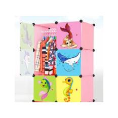 Lemari Anak Portable Design Modern - Pink Sea Cartoon