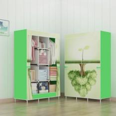 Lemari baju modern lemari gantung lemari pakaian portable rak pakaian minimalis Green Tree 3 Kolom