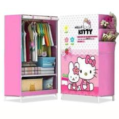 Lemari Baju Modern Lemari Gantung Lemari Pakaian Portable Rak Pakaian Minimalis Karakter Kitty Melody 1 Kolom
