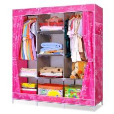 Review Lemari Baju Rak Pakaian Wardrobe Motif Jumbo Size 130 X 45 X 170 Cm Dot Flower Pink No Brand