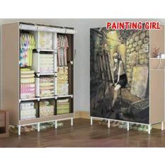 Lemari gantung baju lemari pakaian gantung lemari baju gantung lemari plastik anak lemari pakaian terbaru NF-3 Painting Girl 3 Kolom