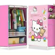 Lemari Multi Fungsi Wardrobe Single Rak Pakaian Hello Kitty Teddy