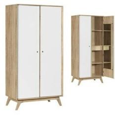 Lemari Pakaian 2 Pintu Large Putih Desain Modern Graver Diskon
