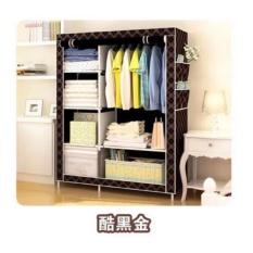 Lemari Pakaian / Baju Cloth Rack Multifungsi (Lemari Rangka Besi Alumunium + Cover Kain Non Woven) - Warna Hitam