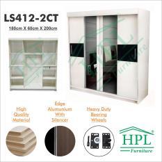 Lemari Pakaian HPL 4 Pintu Sliding , LS4PStrip-2CT