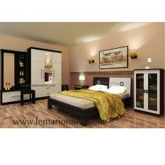 Lemari Pakaian, Meja Rias, Nakas, Ranjang, dan Lemari Buku (Bedroom Set Gloss)