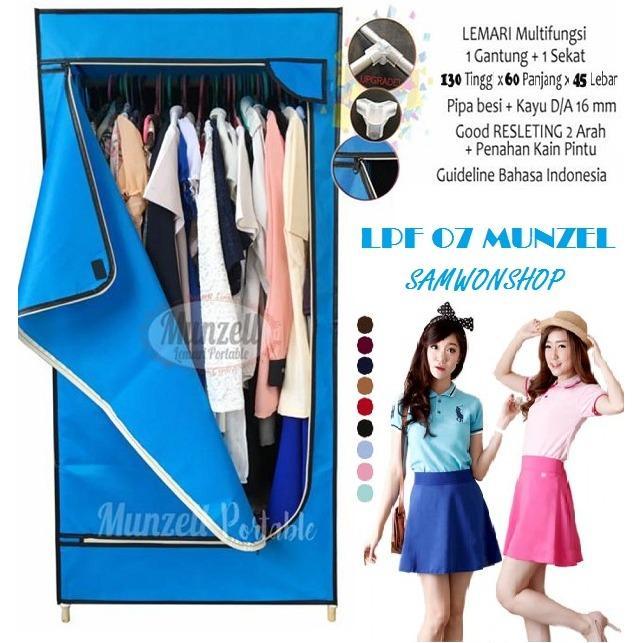 Lemari Pakaian Munzell LPF-07- Lemari Baju Gantung 1 Sekat BIRU