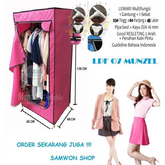 Lemari Pakaian Munzell LPF-07- Lemari Baju Gantung 1 Sekat Pink