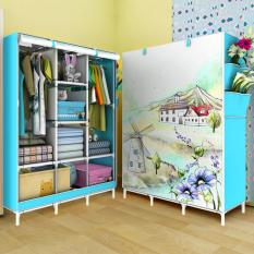 Lemari Pakaian Portable 3 Layer - Blue Farm House