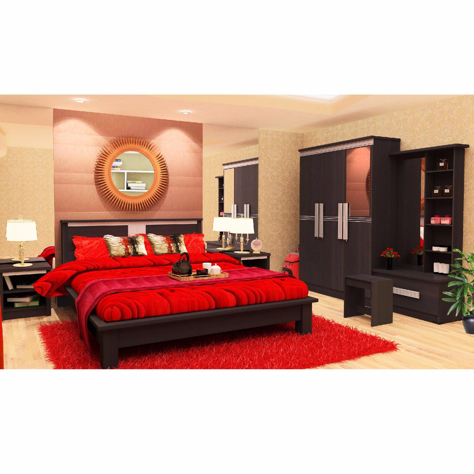 Murah Central 2in1 Deluxe Florida 120x200 Komplit Set Motif Sandaran Uniland Beauty Bed Zebra Cho 100x200 Jadebotabek Only Ranjang Nakas Meja Rias Bedroom Red