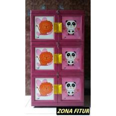 Lemari Plastik VENUS 3 Susun Warna Pink Hijau Lemari Pakaian Praktis Modern Bisa Bongkar Pasang Tahan Lama