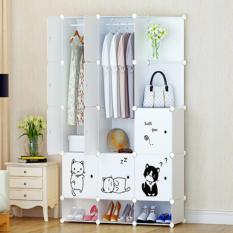 lemari portable plastik anti air wardrobe pakaian kuat anti rayap dekorasi kamar tidur rak laci susun