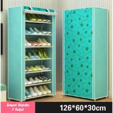 Lemari Rak Sepatu 8 Tingkat 7 Sekat (21 Pasang Sepatu) Motif Bunga - Warna Tosca Hijau