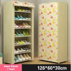Lemari Rak Sepatu 8 Tingkat 7 Sekat - Motif Bunga - Warna Putih-Kuning