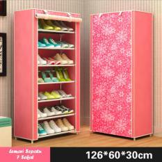 Lemari Rak Sepatu 8 Tingkat 7 Sekat - Motif Bunga - Warna Pink