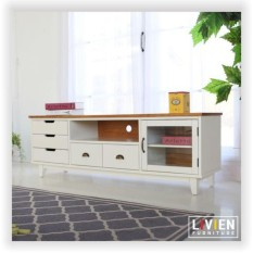 Lemari Rak TV Dresser Coco Heim Series - Ivory White - LIVIEN Furniture
