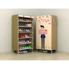 Lemari Sepatu Murah Lemari Furniture Rak Sepatu Bongkar Pasang Mudah Furniture Murah Motif Coffe Love 6 Ruang