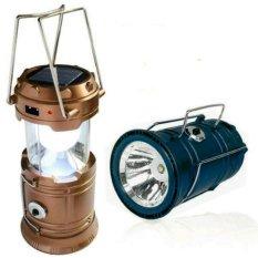 Lentera Tarik Mini JY-5700T + Senter Solar + Powerbank - Camping Lantern - Hitam