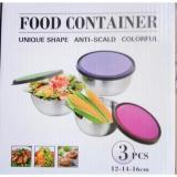 Promo Leoshop888 Tempat Penyimpanan Mangkok Set Food Container Stainless Steel 3Pcs